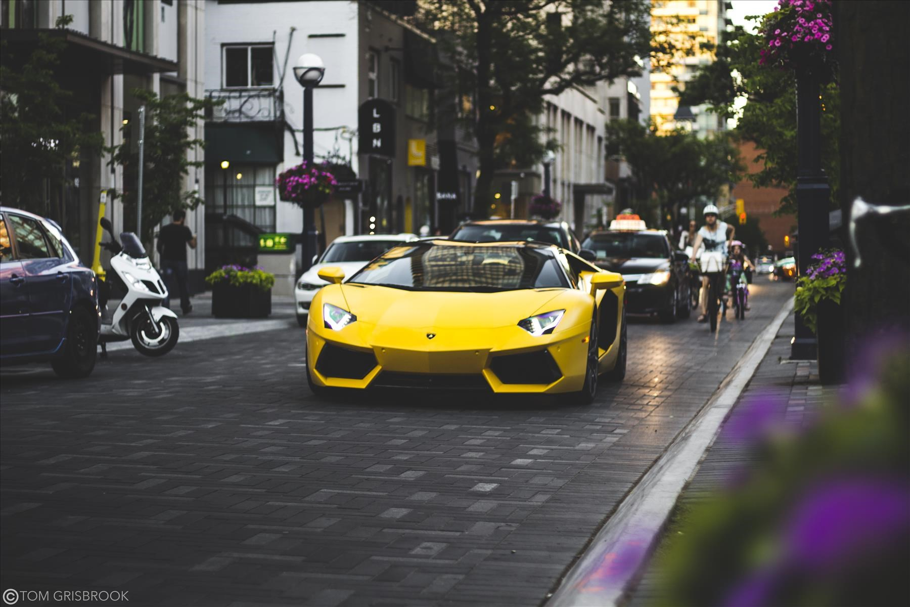 Lamborghini Aventador Roadster cruising through Yorkville